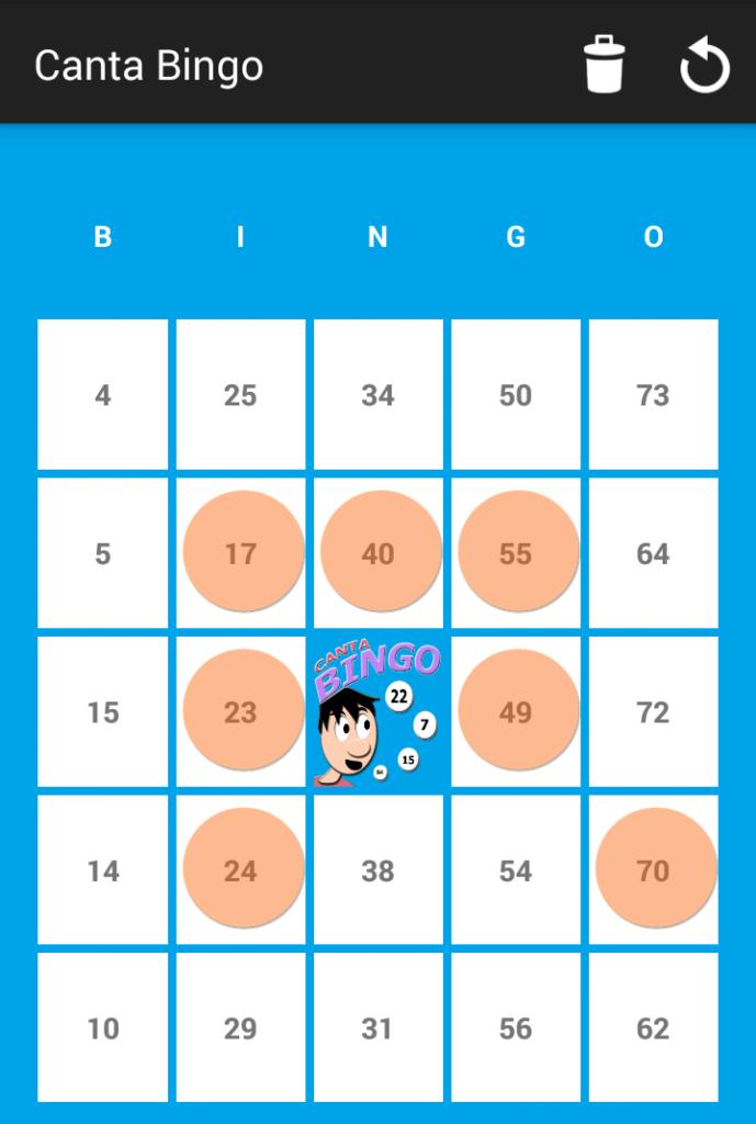 Un carton de Bingo 75 - Canta Bingo