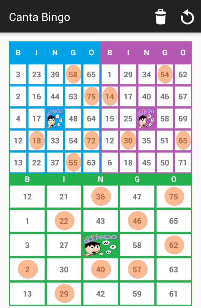 Tres cartones de Bingo 75 - Canta Bingo